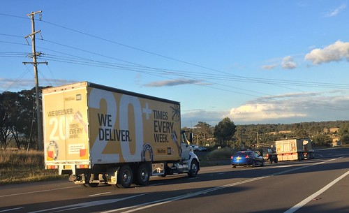 CAT, who deliver twenty plus times each week. Well done CAT, New England & Golden Highways intersection at Belford, NSW. Truck lovers paradise.