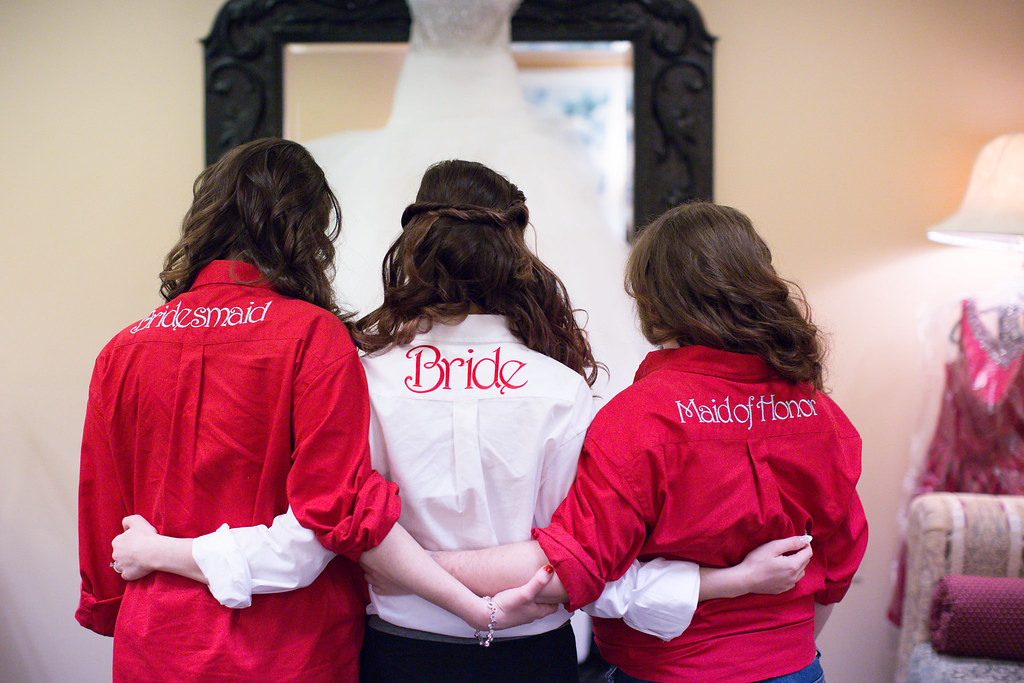 Matching personalized bride and bridesmaids shirts for getting ready.