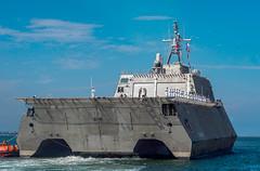 USS Gabrielle Giffords (LCS 10) approaches the pier at Naval Base San Diego, July 5. (U.S. Navy/MCSN Nicholas Burgains)