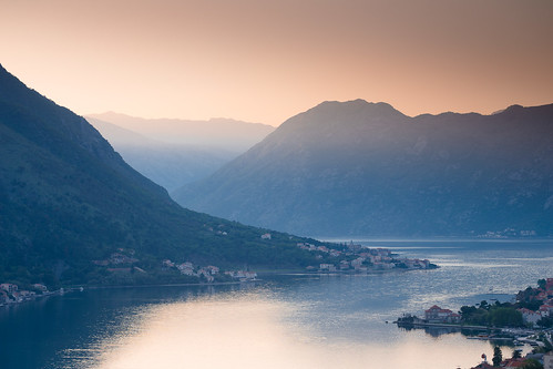 kotor montenegro bay bokakotorska boka fiord sunset mountains city panorama sea adriatic