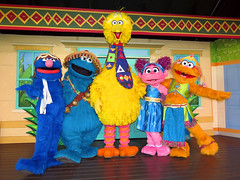 Grover, Cookie Monster, Big Bird, Abby Cadabby and Zoe