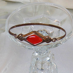Vintage Red Diamond Bracelet. Sterling Silver Cuff Bracelet.  925 CW Silver Bracelet.