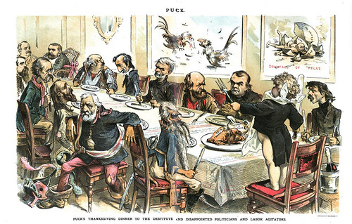 puck's thanksgiving dinner to the destitute and disappointed politicians and labor agitators (1887)