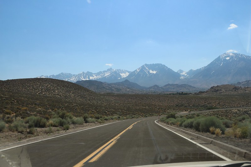Driving toward Bishop on Route 168 with Mount Humphreys in the distance left of center