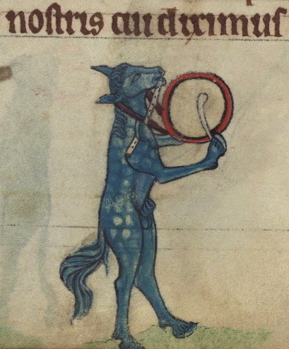 Horse playing a flute and drum, detail from fol. 74v.