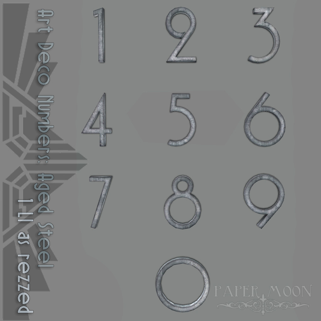 *pm* Art Deco Numbers Aged Steel advert - SecondLifeHub.com