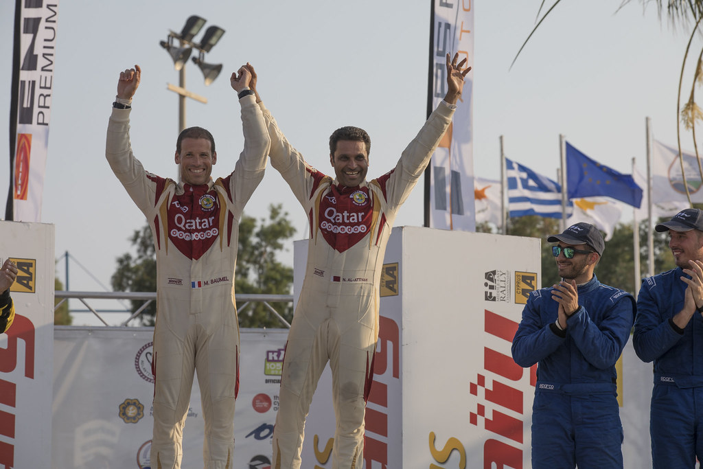 AL ATTIYAH Nasser (qat) and BAUMEL Matthieu (fra) NASSER AL-ATTIYAH FORD FIESTA R5 ambiance portrait podium during the 2017 European Rally Championship ERC Cyprus Rally,  from june 16 to 18  at Nicosie, Cyprus - Photo Gregory Lenormand / DPPI