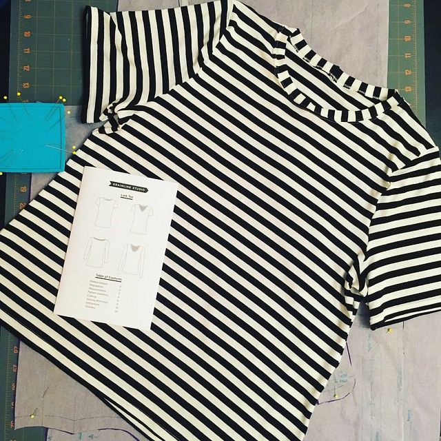 Lark Tee in Black and White Stripes