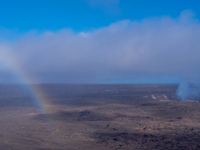 Kilauea Volcano and rainbow, Hawaii island