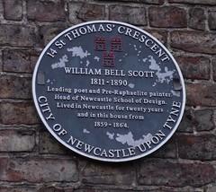 Photo of William Bell Scott black plaque
