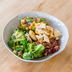 Green Salad Bowl with Broccoli, red Quinoa with Beetrot and Chicken