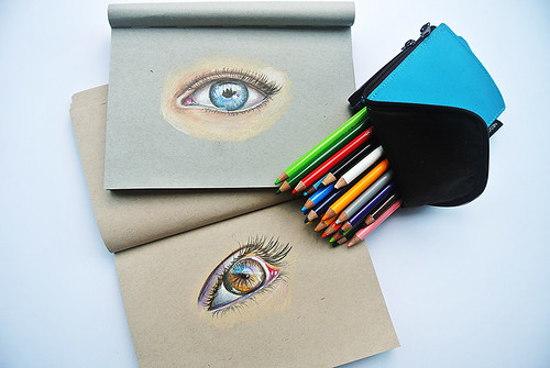 Coloured-pencil-eye-drawings