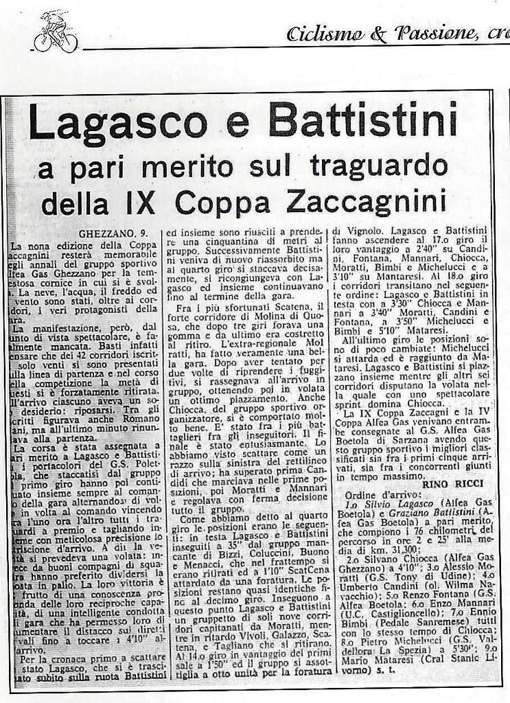 """Coppa Ivano Zaccagnini 1958 - articolo """"Ciclismo & Passione – Cronache Toscane 1955 – 1960"""" scritto da Carlo Fontanelli"""
