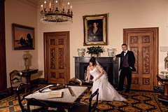 Blandwood Mansion,Wedding dress provided by Songbird's Consignments. Magnolia Ridge Photography