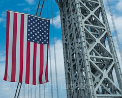 American Flag at the New Jersey Tower of the George Washington Bridge