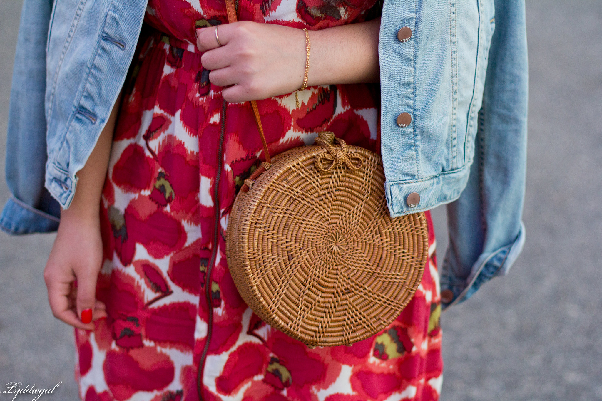 poppy dress, denim jacket, white converse, round rattan bag-3.jpg