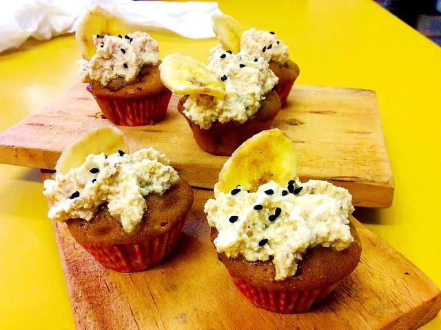 cupcakes banana e tahine: buonissimi