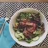Thai steak & noodle salad for this one day heat wave. :tomato::melon:<--lime?