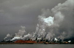 Beautiful billowing clouds of puffy smoke and steam from back when we used to manufacture things. The Weyerhauser Paper Mills and Reynolds Metal Plant in Longview, Washinton State. April 1972
