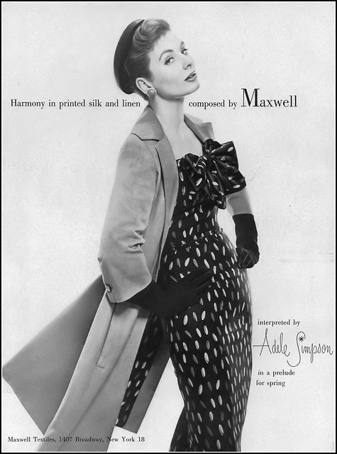 Suzy Parker in a linen and silk print ensemble by Adele Simpson, Vogue, February 1, 1955