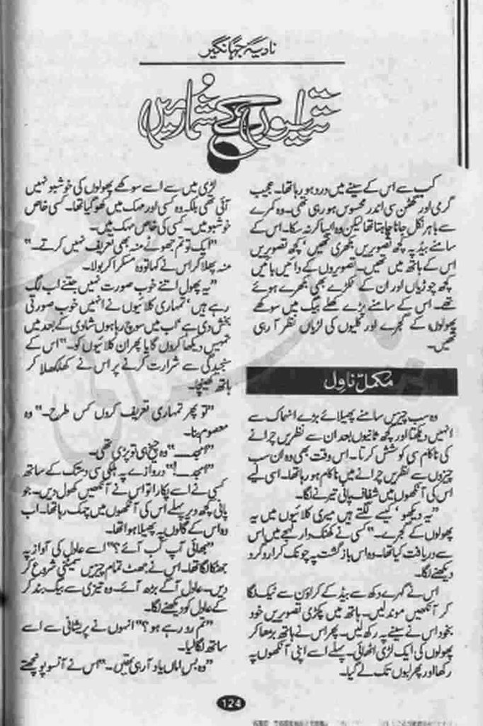 Titlion Key Shumar Mein  is a very well written complex script novel which depicts normal emotions and behaviour of human like love hate greed power and fear, writen by Nadia Jahangir , Nadia Jahangir is a very famous and popular specialy among female readers