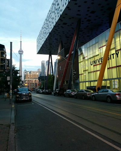 Looking down McCaul #toronto #johnstreet #evening #ocad #cntower