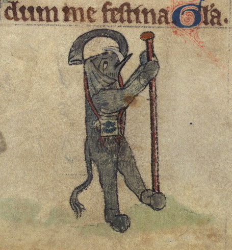 Betrayal; elephant as a pilgrim, detail from fol. 73r.