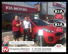 Congratulations to Mr Biddle on collecting his new Sportage from Adrian