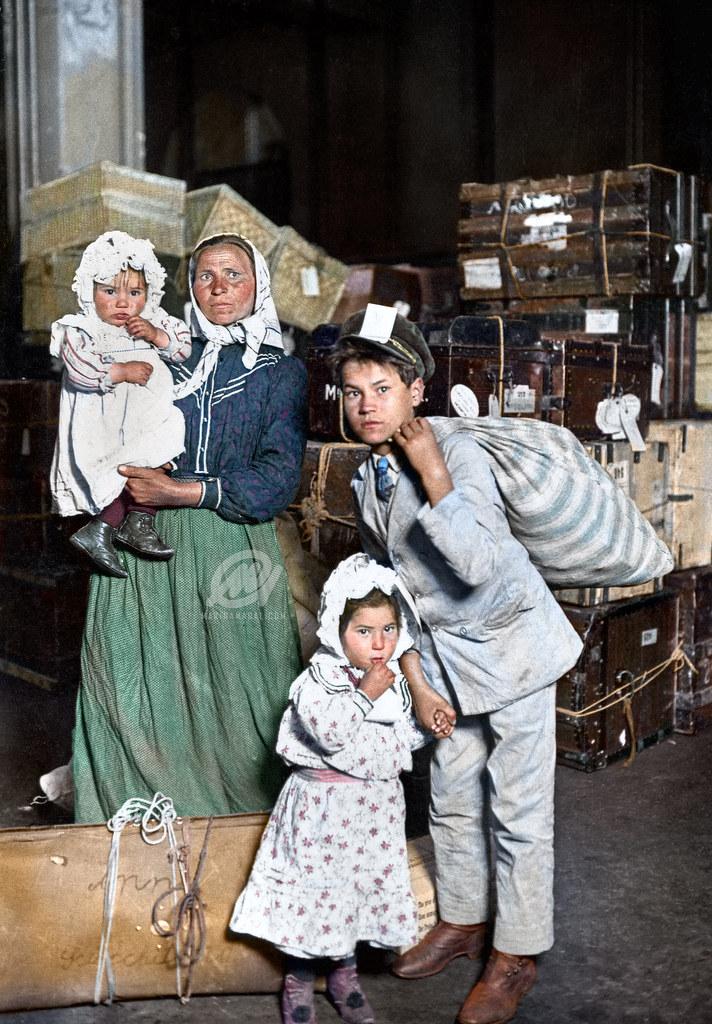 Italian Immigrants arrive at Ellis Island, 1905.