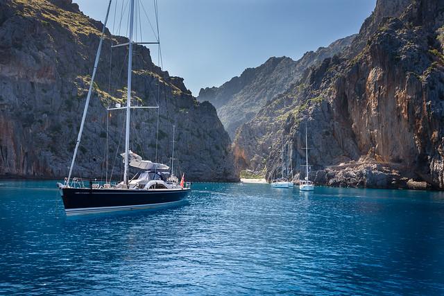 Sailboats at Torrent de Pareis