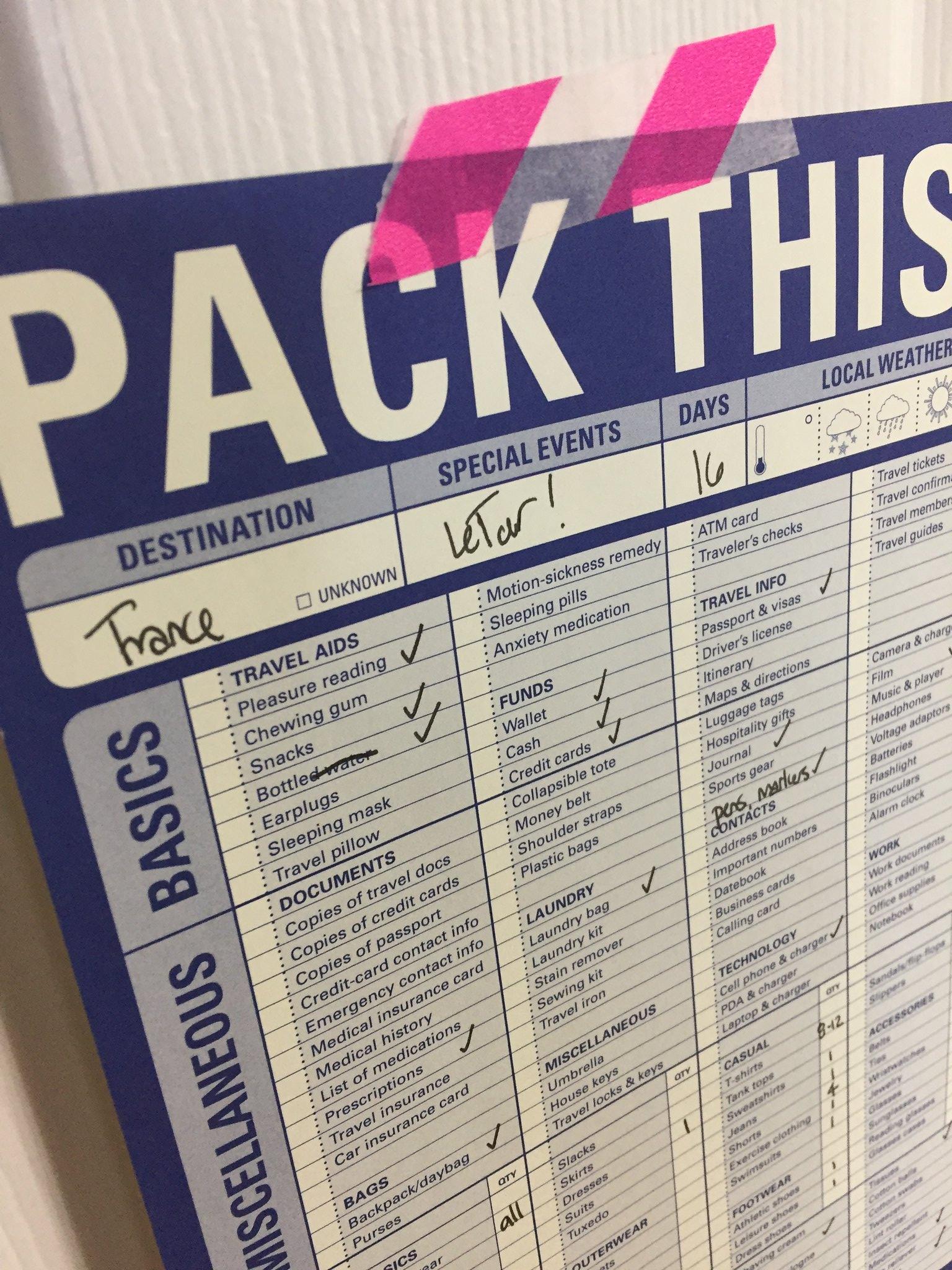 Le Tour Packing List