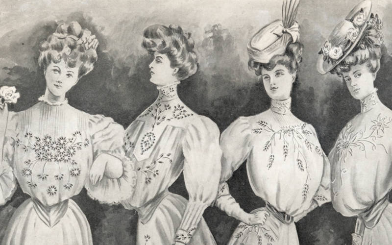 Shirtwaist designs from The Modern Priscilla, a needlework magazine, 1906