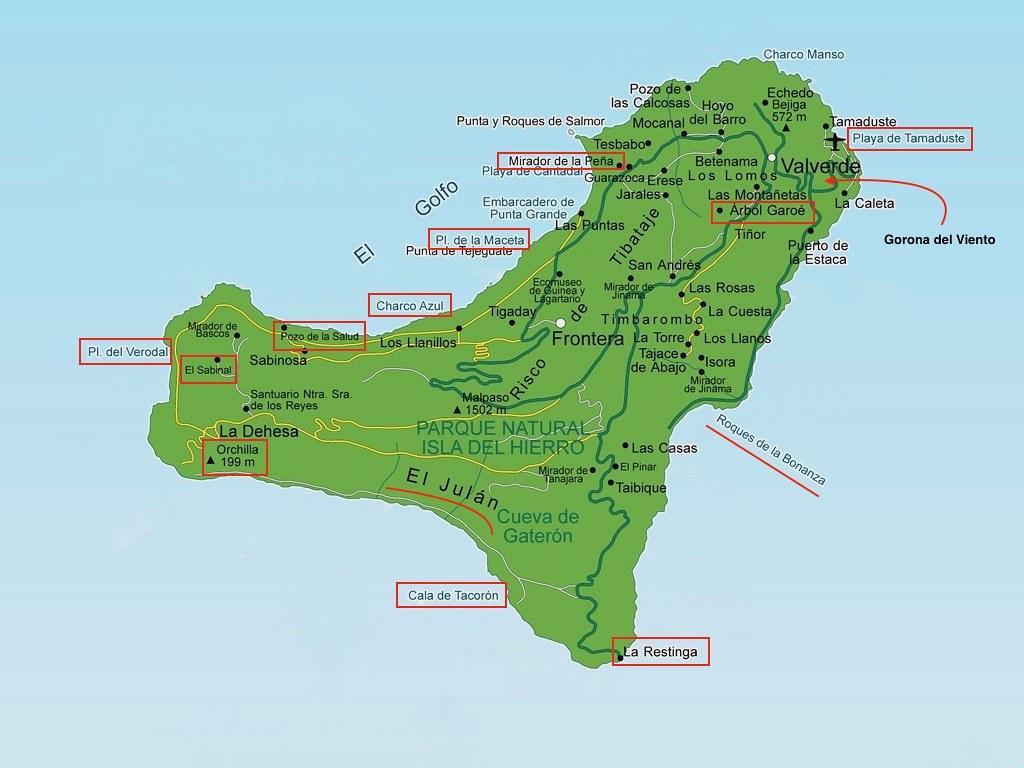 Mapa sitios que ver en El Hierro