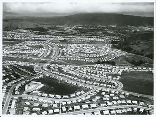 Aerial view of Porirua East and Cannons Creek looking South West towards Linden.