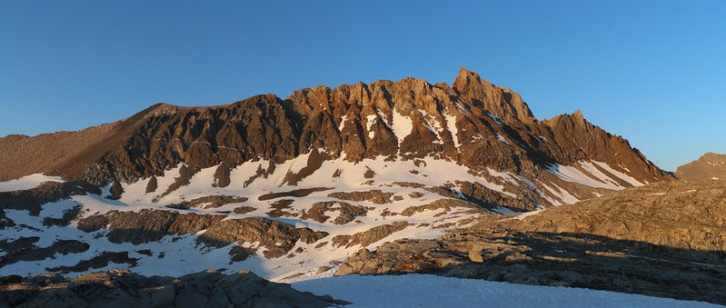 Mount Humphreys in the evening light from the ridge above Desolation Lake