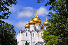 Golden domes of the Cathedral, Yaroslavl, Russia