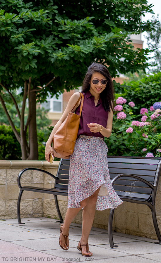 burgundy sleeveless top, floral wrap midi skirt, cognac brown tote, brown suede sandals