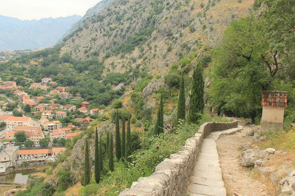 The climb up to St. John's Fortress, Kotor
