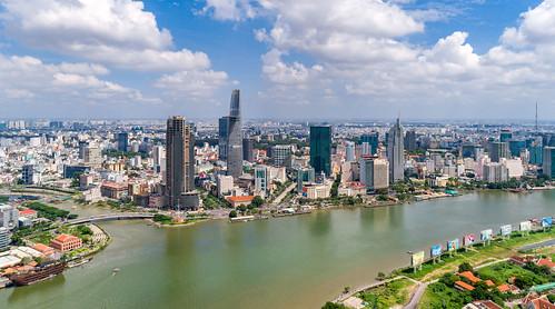 saigon skyline flycam drone river bluesky