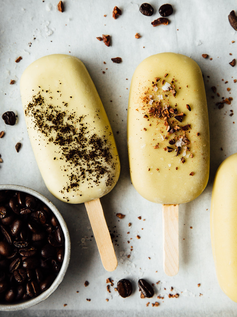 Black & white cold brew coffee cream pops + white chocolate magic shell