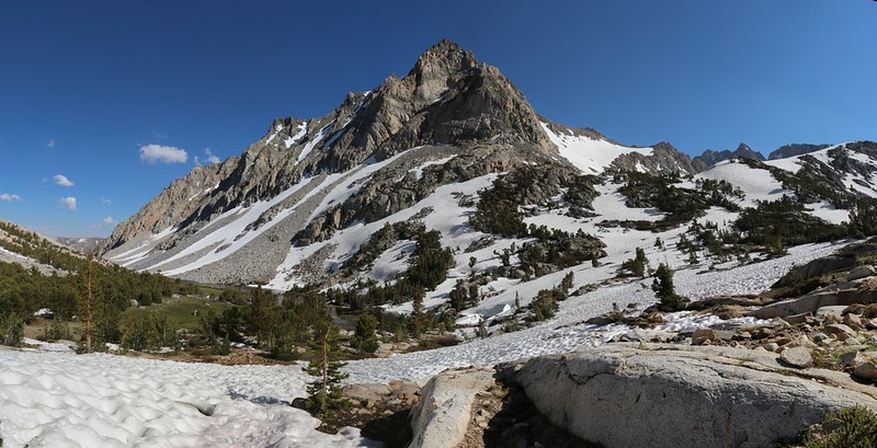 Panorama shot of Peak 12691 from the Paiute Pass Trail