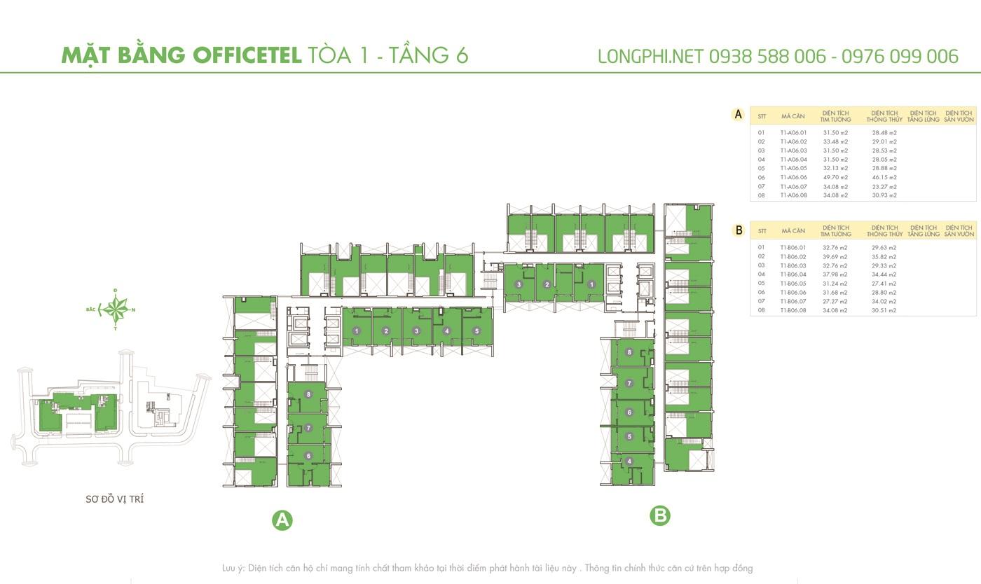 Mặt bằng căn hộ officetel M-One tầng 6 tháp T1.