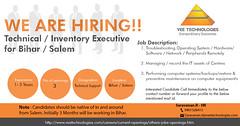 Hiring for Technical / Inventory Executive - Bihar / Salem