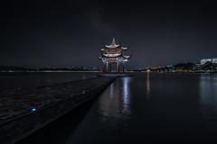 Long exposure of Jixian Pavilion on the West Lake