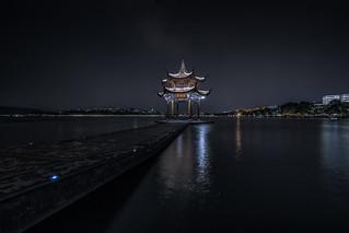 Long exposure of Jixian Pavilion on the West Lake by HIKARU Pan