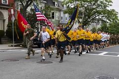 Sailors, Marines and Midshipmen participate in a Patriot Run during Sail Boston 2017.