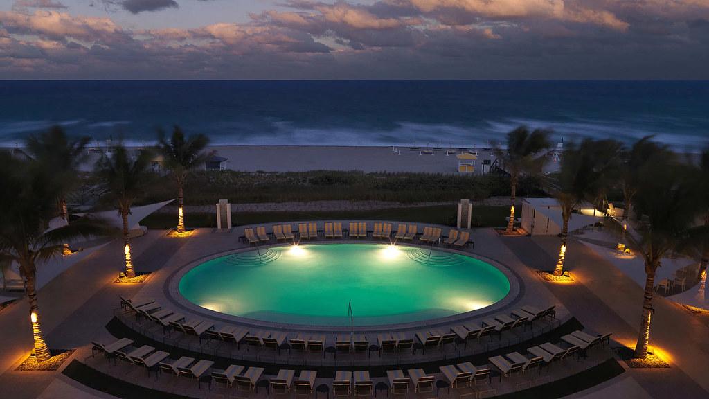 Boca Beach Club, round pool, night shot