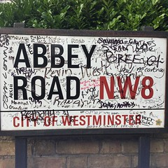 Come together - and scrawl on the road sign. #london #ldn #beatles