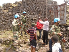 Sake, North Kivu: Indian contingent peacekeepers of Company Operating Base Sake interacting with locals during a patrol of the general area of sake village.