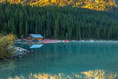 Lake Louise Canoe Shack in Autumn